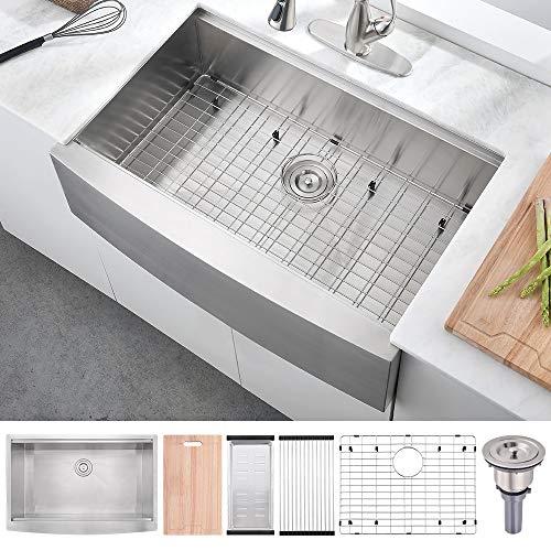33 Inch 16 Gauge Stainless Steel Workstation Farmhouse Kitchen Sink, BoomHoze Handmade Deep Single Bowl Apron Front Kitchen Sink