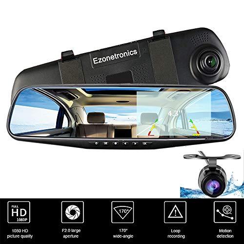 Ezonetronics® Auto Kamera | KFZ Video Recorder Full HD 1080p | KFZ Video Kamera 10,9 cm LCD mit Dual Objektiv für Fahrzeuge & Rückspiegel vorne | DVR Dash Kamera