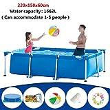 Juego para piscina de jardín, piscina rectangular Frame, PVC malla de 3 capas + marco de acero, fuerte rodamiento, no fácil de rodar, excelente regalo de verano para tus hijos, L 300x200x75cm