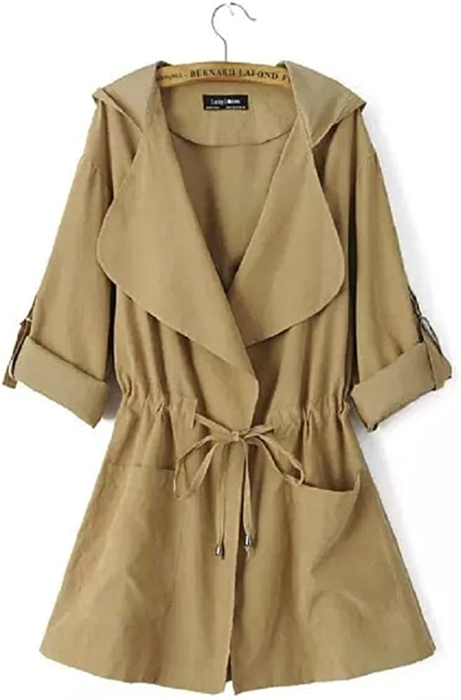 Women's Long Anorak Trench Drawstring Coat Hoodie Jacket Green Khaki (Asian L, Khaki)