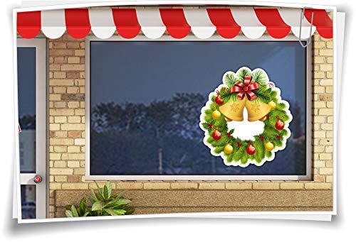 Medianlux etalagevenster venster afbeelding kerstmis kerstkrans adventskrans Christmas klokken ballen decoratie sticker sticker