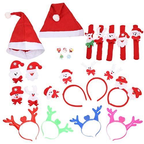 FRCOLOR 23 Piezas Favor de La Fiesta de Navidad Embutidoras Luminoso Santa Hat Slap Pulseras Diadema Suministros para La Cabeza para La Fiesta de Cumpleaños Bolsa de Regalos