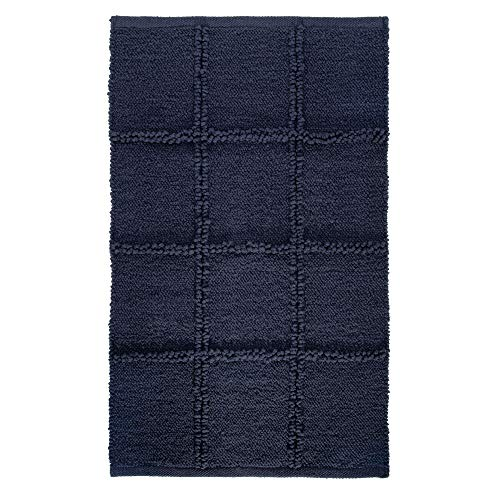 Price comparison product image iDesign Grid Bathroom Mat,  Rectangle-Shaped Small Rug Made of Cotton,  Navy Blue,  53.3 cm x 86.4 cm