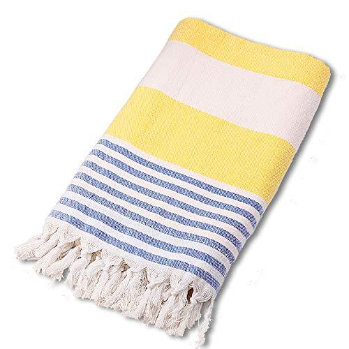 BEUFIRST Toalla de Piscina Grande 100% algodón. (100x180 cms). Toallas Playa algodón Fino 100% Natural. Muy absorbentes, Ligeras y de máxima suavidad. (Amarillo)