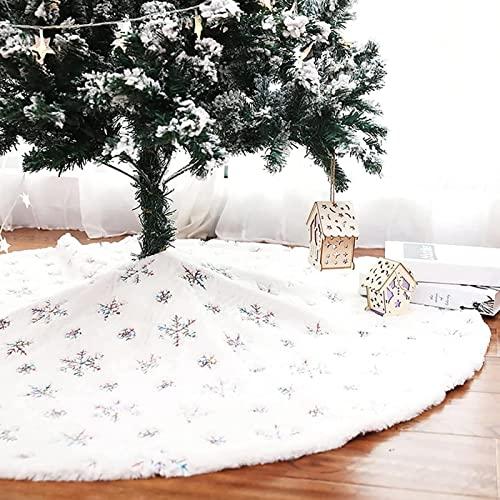 Falda de árbol de Navidad con copos de nieve de lentejuelas para decoración de fiestas navideñas de árbol de Navidad, color blanco, de lujo, de piel sintética, faldas de árbol, funda de base para de