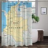 GKGYGZL Cortina de Ducha de poliéster,Colombia Political Map with Capital Bogota National Borders Most Important Cities Rivers an,Excelente Impermeable para la decoración del baño, Cortina de Ducha
