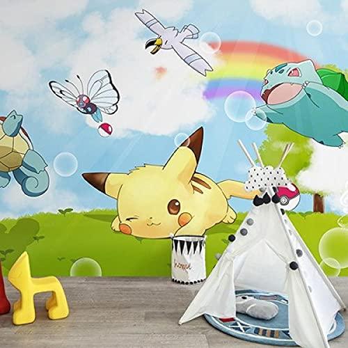Pikachu Wallpaper Cute Cartoon Boy Bedroom Children's Room Background Wall Anime Wallpaper 200(L) x140(H) cm
