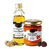 Aceite de trufa blanca con aceite de oliva virgen extra Tuber Magnatum Pico (100 ml) para cocinar, servir, ensaladas y Salsa gourmet de tomate rojo y chile con trufa negra Tuber aestivum (180 g)