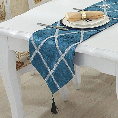 LXZ Chemins De Table, Vintage Chemin De Table À Toile Flanelle Lin Jacquard De Jute Et Burlap De Table Décoration Pour Maison Mariage , Blue , 28X180Cm