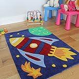 The Rug House Tapis Chambres Enfants Fusée Rouge 70 x 100cm
