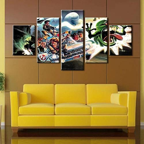 QMCVCDD Print Painting Canvas 5 Pieces For Home Modern Decoration 5 Piece Canvas Art Stretched By Wooden Frame Ready To Hang Ghostbusters 3D Art