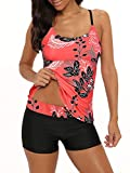 Century Star Women's Tummy Control Swimwear Paisley Printed Tankini Swimsuit with Boyshorts Two Piece Bathing Suit Red Black Medium (fits like US 4-6)