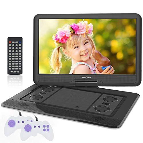 """WONNIE 17.5\"""" Tragbarer DVD-Player mit 15.6 Zoll Rotation Bildschirm 1366x768 HD, 5600mAh Akku 6 Stunden, Stereoton, Regionen Frei, USB/SD/AV Out & IN (Schwarz)"""