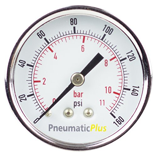 PneumaticPlus PSB20-160CP Air Pressure Gauge for Air Compressor WOG Water Oil Gas Chrome Plated 2