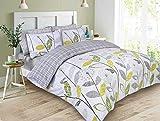 Dreamscene–lujo–Juego de cama con funda de almohada, poliéster/algodón, gris, King
