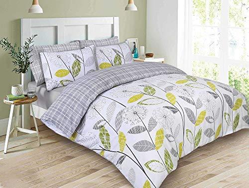 Dreamscene Luxuriöse Allium Bettwäsche Set mit Kissenbezüge, Polyester/Baumwolle, grau, King