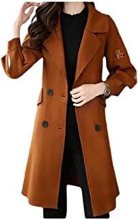 neveraway Women Classics Embroidery Woolen Jacket TrenchDouble Breasted Pea Coat