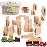 On Track USA Wooden Train Set 100 Piece Expansion Pack Train Track Set with Magnetic Engine Train Cars and Zoo Train, Compatible with Thomas, Brio, and All Major Brands, Comes in a Storage Container