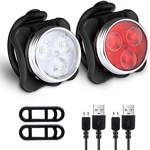 FSJD Juego de Luces para Bicicleta Super Bright USB Recargable, 4 Brillos, Luces Impermeables para Bicicleta de montaña (2 Cables, 4 Correas), Juego de luz roja + luz Blanca, 4,5 cm × 4,2 cm × 3,5 cm