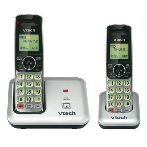 Price comparison product image VTech CS6419-2 2-Handset DECT 6.0 Cordless Phone with Caller ID,  Expandable up to 5 Handsets,  Wall Mountable,  Silver / Black