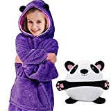 TekkPerry Kids Hoodie Blanket Sweatshirt, Wearable Animal Hoodie for Boys Girls, Soft Fleece Cute Pullover with Sleeves and Pocket, Huggable Plush Hoodie Blanket for Boys Girls Teens Children Youth