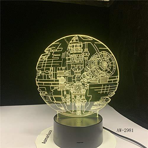 Todesstern Darth Vader Meister Yoda Jedi Anführer Krieg der Sterne Fans Geschenke 7 Farben Farbverlauf 3D Lampe LED Nachtlicht Geschenke AW-2981