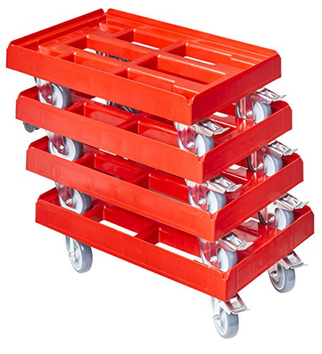 4 Stück Transportroller für Kisten 60 x 40 cm mit 2 Bremsen in rot