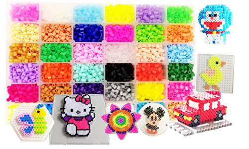 vytung 10000 Perles à Repasser-36 Couleurs (6 Brille dans Le Noir) 5 Plaques+89modèle Imaginer(29taille réelle)+5feuilles de Papier +2Brucelles+Sac de Bricolage Hama Beads Compatible