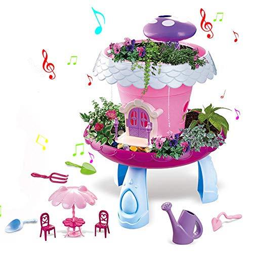 Ridecle Fairy Garden Toy Set, Kids Pretend Play Gardening Toy Set Jouets éducatifs pour Enfants Tout-Petits Filles garçons âgés de 3 Ans (avec Musique et lumières)