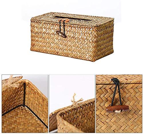 IQOAIJ Retro Creativity Tissue Box Cover, Room Paper Handdoek Desktop Manden Servet Koffiehouder Natuurlijke Zeewier Weven Handgemaakte geweven Tissue Box - Niet-giftig - Milieuvriendelijk
