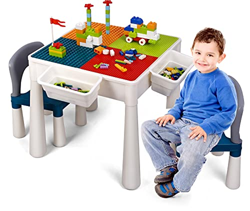 Kids Activity Table with 2 Chair Set 360 Pieces Bricks, 7 in 1 Multi Functional Toddler Table, Lego Play Table for Studying/Block Building/Dining, with 4 Storage Boxes