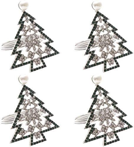Anillos de servilletas navideños Servilletero de metal para servilletas de tela Servilletas de tela Anillos para banquetes Fiesta Cena Decoración de mesa Decoraciones navideñas