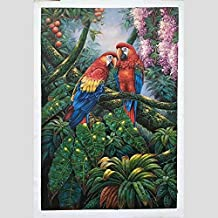 ZHUAIBA 100% Hand Painted Colored Parrot Art Oil Painting on Canvas Wall Art Wall Adornment Picture Painting for Home Decor (90X120cm) 36X48inch B