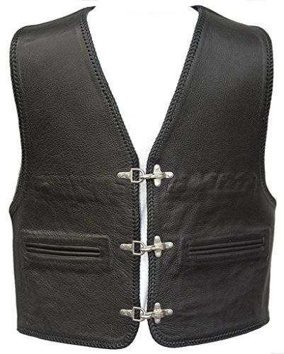 """Bad Company Leatherwear """"Kai"""" Clubweste aus Glattleder in Schwarz mit Passbeltaschen für Motorradfahrer und Biker, Gr.: 52"""