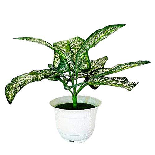 PINBinyee Plantas artificiales para interiores en macetas, maceta artificial con hojas verdes, decoración de plástico, oficina, hogar, imitación para jardín, 1