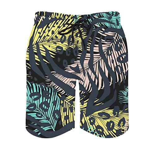 Pantalones cortos geométricos de plumas de animales con bolsillos con cremallera para correr, casual, verano, playa, de secado rápido con forro de malla