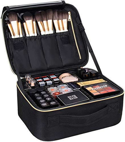 MONSTINA Makeup Train Cases Professional Travel Makeup Bag Cosmetic Cases Organizer Portable Storage Bag for Cosmetics Makeup Brushes Toiletry Travel Accessories Black