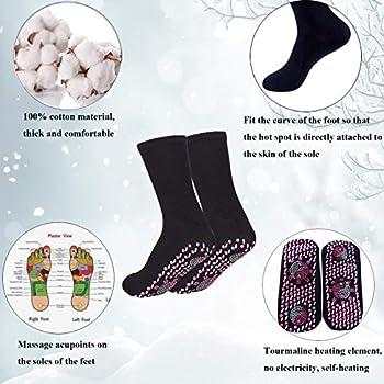 Chuanyidaty Chaussettes chauffantes, 2 paires de chaussettes chauffantes, chaussettes magnétiques, chaussettes chauffantes en tourmaline, chaussettes chauffantes pour l'hiver pour homme et femme.