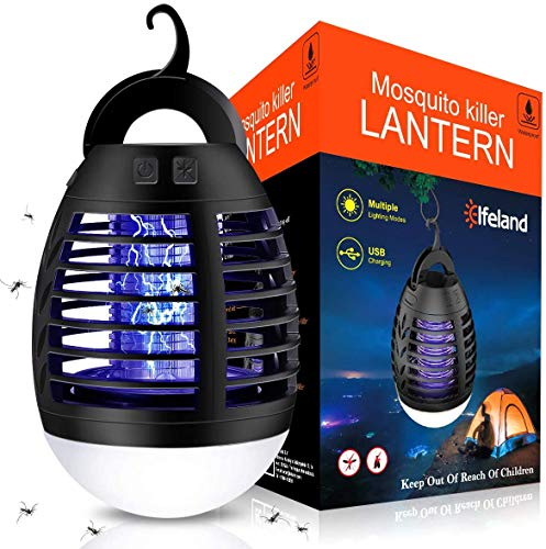 Elfeland Electric Mosquito Killer Mosquito Lamp USB Powered Trap Gnat with Hanger for Indoor Outdoor