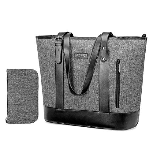 FOSTAK Damen Handtasche Umhängetasche Aktentasche Messenger Bag Reisetasche Shopper Frauentasche Schultertasche Tote Bag Businesstasche Arbeitstasche Laptoptasche für 15 Zoll Laptop, Linien Grau