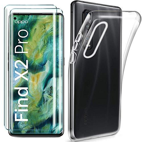 HYMY Hülle für Oppo Find X2 Pro + 2 x Schutzfolie Panzerglas - Transparent Schutzhülle TPU Handytasche Tasche Durchsichtig Klar Silikon Hülle für Oppo Find X2 Pro (6.7