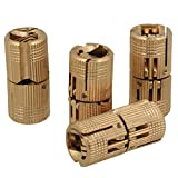 4PCS Barrel Hinges Hidden Furniture Hinge Brass Concealed Hinges for DIY Jewelry Box Furniture Hand Craft Golden 12mm 180°Opening Angle