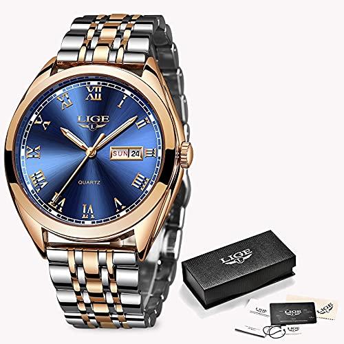 2019 LIGE New Rose Gold Women Regardez Quartz Watch Watch Mesdames Top Marque Luxe Bracelet Montre Girl Horloge Relogio Feminin (Color : Rose Gold Blue)