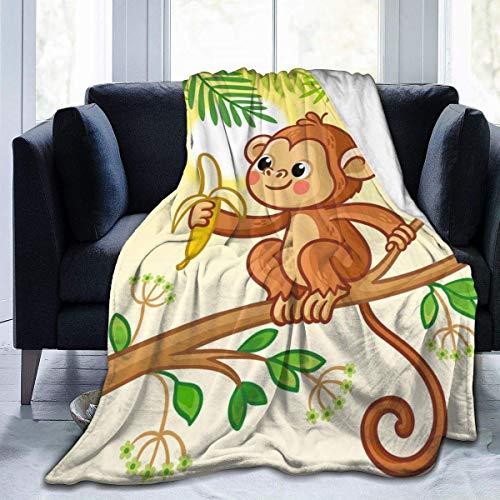 Coperta a forma di scimmia che si siede su un albero, ultra morbida, per letto, divano, soggiorno, per tutte le stagioni, piccola 127 x 101,6 cm, per bambini