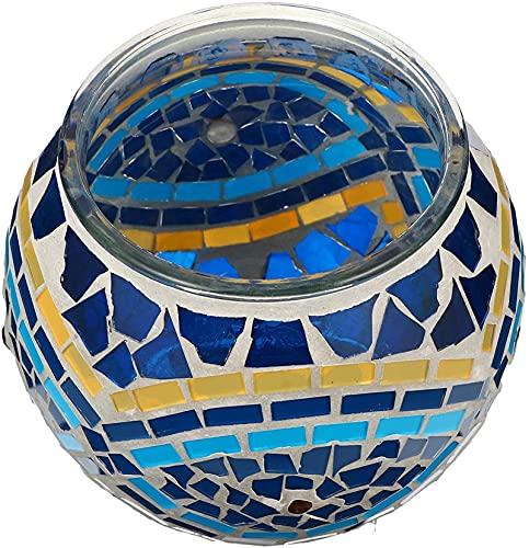 ZWYSL Candelero, Soporte de Vela de Mosaico con Soporte de Vela con Aroma al Soporte de la luz del té para la decoración del hogar decoración de la Boda Pieza Central (Color : Blue)