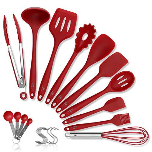 PHILORN Set di Utensili da Cucina 10 Ganci 4 Misurino 10 Pinze per Cottura in Silicone Spatola Cucchiaio per Mestolo Resistenti al Calore Utensili da Cucina Antiscivolo Rosso