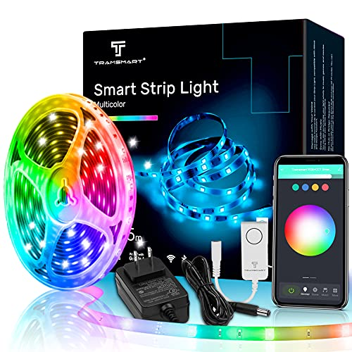Smart LED Strip Lights,16.4ft Voice Control Works with Alexa and Google Home (No Hub Required),Music Sync RGBCCT 16 Million Colors Changing With App Control WiFi Light Strip,Decoration Bedroom,Kitchen