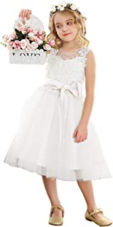 Bow Dream Ivory Off White Lace Vintage Flower Girl's Dress