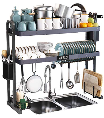 "Over The Sink Dish Drying Rack, Majalis Stainless Steel 2 Tier Large Dish Drainer Above Sink Adjustable 27.5"" - 33.5"", Expandable Kitchen Counter Organizer Storage Space Saver Shelf with 6 Hooks"