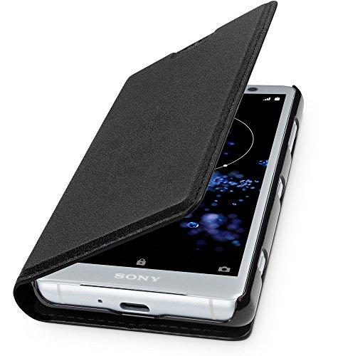 WIIUKA Echt Ledertasche - TRAVEL - für Sony Xperia XZ2 COMPACT, mit Kartenfach, extra Dünn, Tasche Schwarz, Premium Design, Leder Hülle kompatibel mit Sony Xperia XZ2 COMPACT